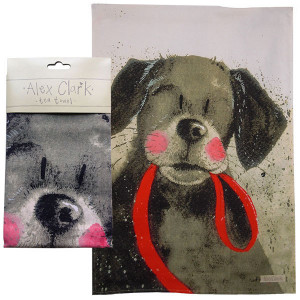 Kitchen Tea Towel 100% Cotton Dog with Red Lead By Alex Clark