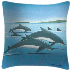 Dolphins Art Print Retro Cushion Martin Wiscombe