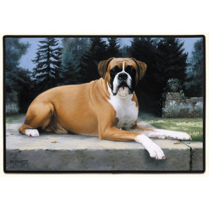 Boxer Dog Non-Slip Rubber Backed Doormat