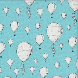 Dr Seuss White Balloons on Blue Quilting Fabric