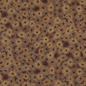 Australian Sun Eucalyptus Gumnut Flowers Brown Quilt Fabric