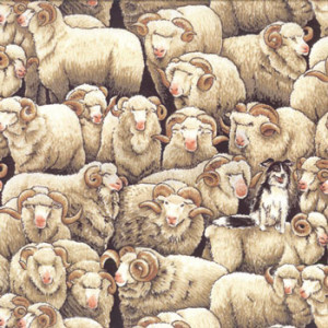 Merino Sheep Border Collie Dog Farm Quilting Fabric