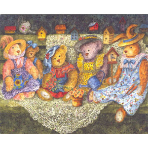Bears and Bunnies Greeting Card by Anna Krajewski