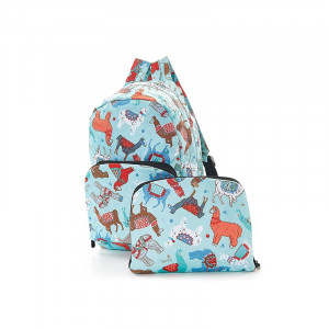 Eco-Chic Foldable Backpack Colourful Llamas on Blue