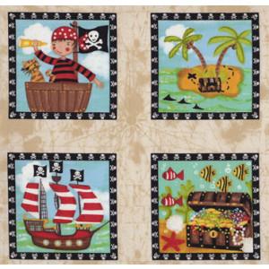 Pirates in Squares Treasure Chest Quilt Fabric