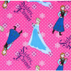 Disney Frozen Pink Anna Elsa Girls Licensed Quilt Fabric