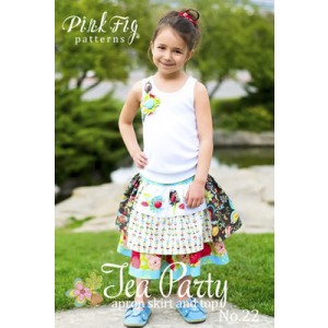 Tea Party Girls Apron Skirt and Top Pink Fig Sewing Pattern