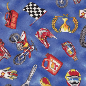 Motocross Dirt Bikes Motorbikes Helmet Gloves Flags Quilting Fabric