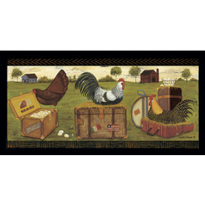 Country Chickens Roosters 10 x 20 Print