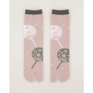 Japanese Style Fan with Cherry Blossom Design Unisex Split Toe Tabi Socks