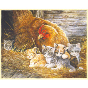 Hen and Kittens Greeting Card by Shirley Deaville