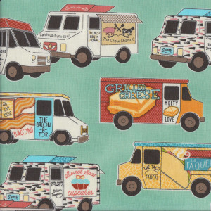 Food Trucks on Jade Green Quilt Fabric