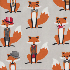 Brown Foxes on Grey Houndstooth Quilt Fabric