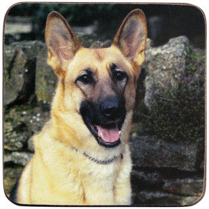 German Shepherd Dog Cork Backed Drink Coaster