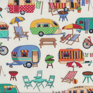 Retro Caravans Getaway  BBQ Deck Chairs Quilt Fabric
