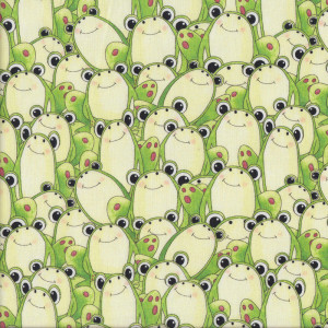Happy Green Frogs Quilt Fabric