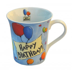 Happy Birthday Balloons Celebration Ceramic Tea Coffee Mug