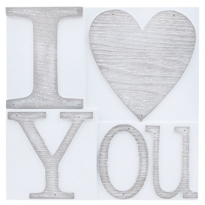 I Love You Printers Block Wall Plaque