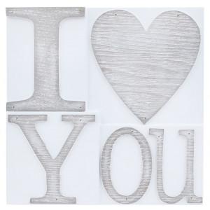 I Love You Printers Block Wall Plaque