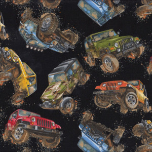 Jeeps on Black Mud Off Road Quilt Fabric