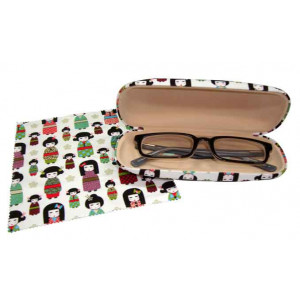 Kimono Kokeshi Doll Design Glasses Case & Eyeglasses Cleaning Cloth