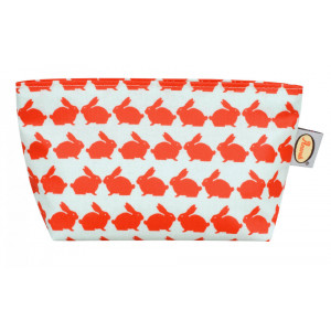 Kissing Rabbits Travel Toiletry Bag Coated Cotton Canvas