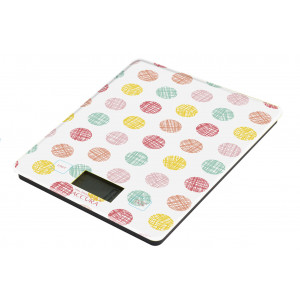 Electronic Glass Kitchen Scales Meat Food Weight 5kg Polka Dot