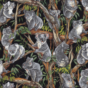 Australian Grey Koalas in Gum Trees on Black Quilt Fabric