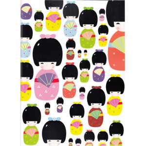 Kokeshi Japanese Dolls A4 Size Notebook