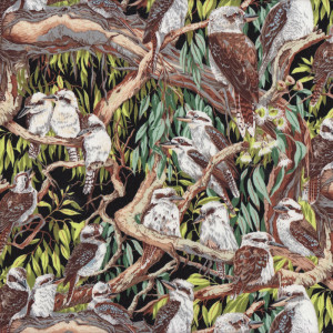 Australian Kookaburras Sitting in Gumtrees Birds Quilt Fabric
