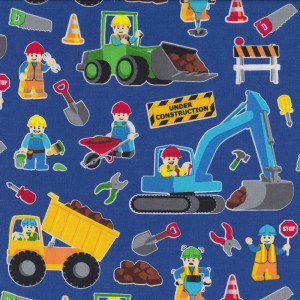 Lego Construction Bulldozer Dump Truck Quilt Fabric