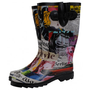 Magazine Newspaper Images Design Ladies Gumboots Wellies