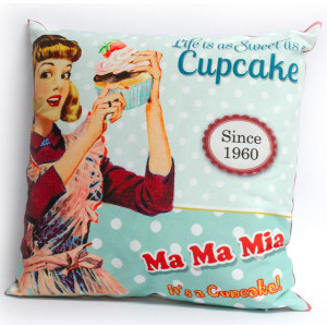 Life Is as Sweet as a Cupcake Retro Design Cushion