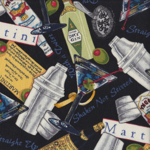 Martini Cocktails on Black Gin Quilt Fabric