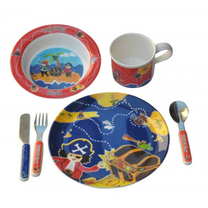 Pirates Ahoy Kids Boys Childs 6 Piece Dinner Set