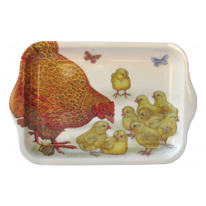 Hen and Baby Chickens Melamine Snack Tray
