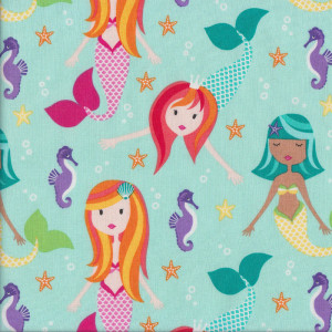 Mermaids Seahorses Fairy Tales Quilt Fabric