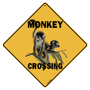 Monkey Crossing Road Sign