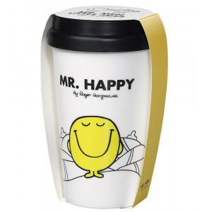 Mr Men Mr Happy Tea Coffee Double Wall Travel Mug
