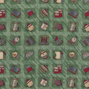 Welcome Birdhouses Teapots on Green Debbie Mumm Quilting Fabric