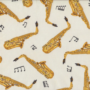 Saxophones on Cream Music Notes Quilt Fabric