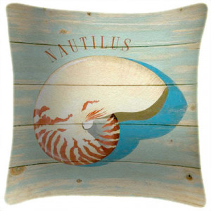 Nautilus Shell Beach Art Print Retro Cushion Martin Wiscombe