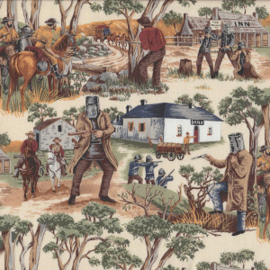 Ned Kelly Outlaw Shooting at Glenrowan Quilting Fabric