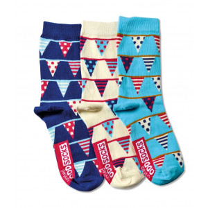 Ladies Mix and Mismatch Bunting Flags Design Odd Socks