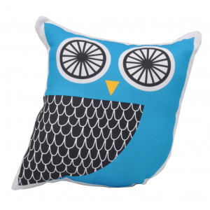 Kids Childrens Owl Soft Stuffed Cushion Black and Blue