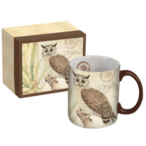 Owl Design Ceramic Tea Coffee Cup Mug by Susan Winget