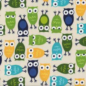 Owls Urban Zoologie Green Blue Quilt Fabric