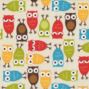 Owls Urban Zoologie Brown Orange Quilt Fabric