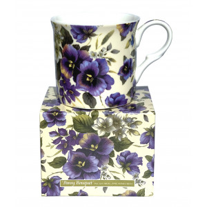 Pansy Bouquet Fine Bone China Palace Mug Tea Cup