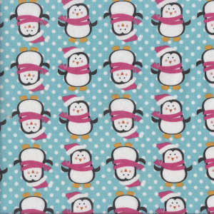 Happy Penguins with Dots on Blue Quilting Fabric